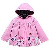 Londony▼ Clearance Sales,Baby Girls Kids Rainbow Stripes Pattern Pockets Rain Jacket Outwear Raincoat Waterproof Hoodies