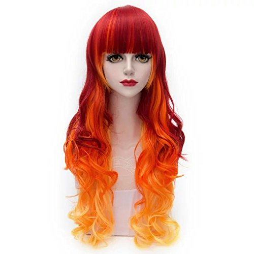 Lolita Ombre Multicolor 55-80cm Long Wavy Curly Anime Cosplay Fashion Harajuku Hair Wigs+Cap]()