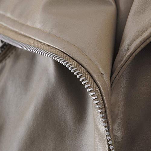 Invernali Solidi Colori Con Bavero Cappotto Corto Vintage In Pelle Cerniera Khaki Biker Donna Di Giaccone Lunga Similpelle Jacket Giacca Manica Moda wCI7qx8n