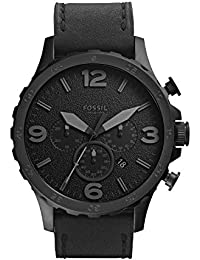 Men's Nate Quartz Stainless Steel and Leather Chronograph Watch, Color: Black (Model: JR1354)
