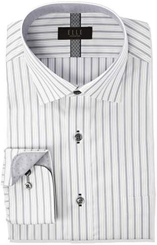 ELLE costumes・形態安定・長袖・ワイシャツ GED304 メンズ 483-グレー-ワイド 日本 M(39-78) (日本サイズM相当)