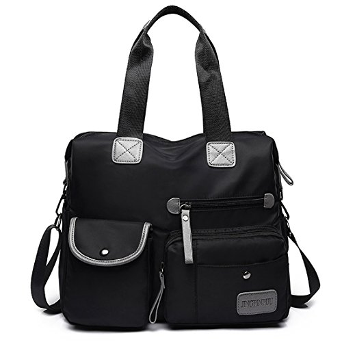 Women Nylon Messenger Bags Multi Zip Pocket Handbag Travel with Crossbody Shoulder Bag Black