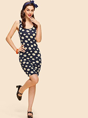 Sexy Floerns Sleeveless Round Women's Summer Party Bodycon Print Floral Neck Cocktail Navy Dresses wSrIfqSn