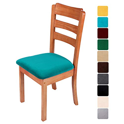 smiry Original Velvet Dining Chair Seat Covers, Stretch Fitted Dining Room Upholstered Chair Seat Cushion Cover, Removable Washable Furniture Protector Slipcovers with Ties – Set of 6, Teal