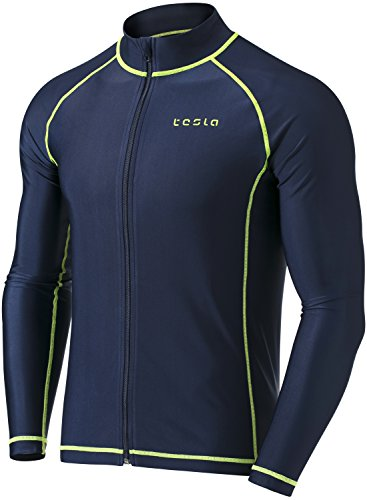 (TSLA TM-MSZ03-NVY_Large Men's UPF 50+ Zip Front Long Sleeve Top Rashguard Swimsuit)