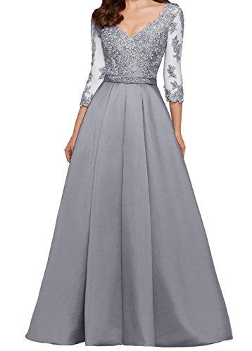 LuckyShe Damen Lang A-linie Spitze Abendkleider Ballkleid for  Hochzeitsgäste mit 3 4 Ärmeln 32b2e38f8c