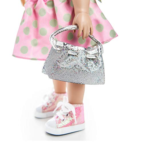 (The Queen's Treasures 18 inch Doll Designer Handbag Hand Bag - Silver Glitter Hobo Shoulder Purse, Great Doll Clothing Accessory Opens and Closes. Packed w/ Its Own Sleeper Bag! Fits American Girl)