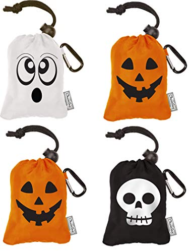Chicobag Original Reusable Shopping Tote/Halloween Trick or Treat Bags (Variety 4 pack Pumpkin, Skull, Ghost)]()