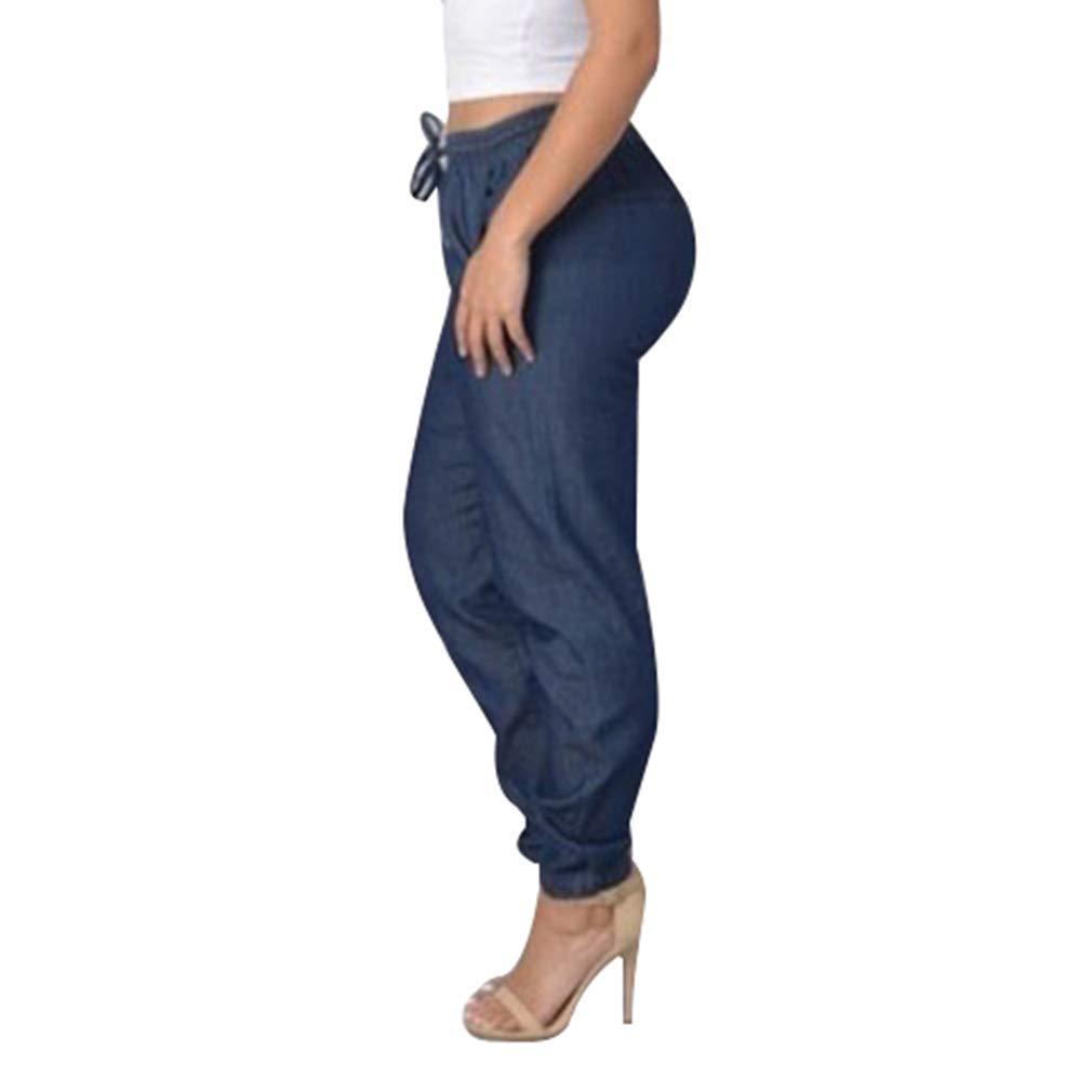 Retro e Eleganti Denim Pantaloni Comode Elastico in Vita Pantaloni con Tasche Donna Taglie Forti Pantaloni in Denim Streetwear Colore Solido Jeans A Vita Media