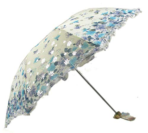 New Arrival Folding Travel Sun Lightweight Umbrella Lady's Parasol Sunblock UV Protection UPF 50+ Compact Size with Black Underside Keep Cooler in Hot Summer! (Blue)