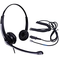 Audicom Binaural Call Center Headset with Mic + Quick Disconnect Headphone for Plantronics M22 Amplifier and Cisco Unified Telephone IP Phones 7931G 7940G 7941G 7942G 7945G 7960G 7961G(702RQDRJ2A)