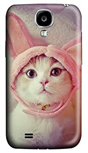 Brian114 Samsung Galaxy S4 Case, S4 Case - Customized 3D Designs Snap-on Case for Samsung Galaxy S4 I9500 Kitty With Cute Hat Best Protective Back Case for Samsung Galaxy S4 I9500