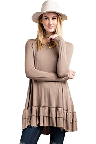 Easel Women's Ruffle Hem Tunic Top Long Sleeve (Small, Cocoa)