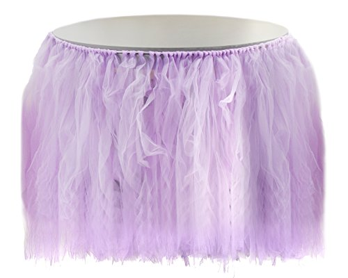 Tutu Table Skirt - Fluffy Tulle Tablecloth, Party Tableware, Table Decorations for Birthday, Wedding, Baby Shower, and Banquet, Purple, 47 x 31 Inches ()