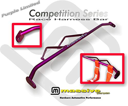 Massive Speed Ford Focus Made in USA Harness Bar Racing Harness Seat Belts 5 Point Compatible w/ 00-07 ZX3 Coupe SVT Roll Brace (Purple Limited) ()