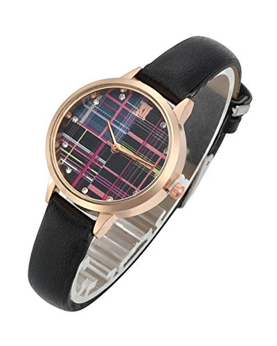 Top Plaza Womens Ladies Fashion Leather Wrist Watch Elegant Simple Plaid Analog Quartz Dress Watch