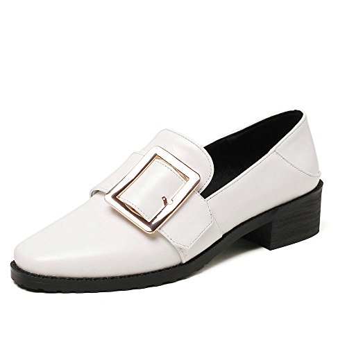 Slip Heel Dress AIWEIYi Square Shoes on Platform White Shoes Ladies Med Casual wnnpBxUqX