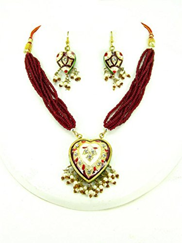 Authentic Designer Indian Lac / Rajasthani Style Costume Jewelry Set for Women / AZINLC036 (Red) - Designer Costume Jewellery Mumbai
