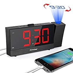 Reacher Projection Alarm Clock with 5.5 Full Range Dimmer Digital LED Display Dual Alarms Snooze Timer Dual USB Charger Ports Outlet Powered for Bedrooms Bedside iPhone Phone- Black