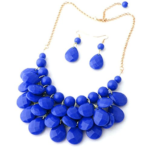 (Floral Fall Teardrop Layered Bubble Statement Necklace and Earring Set (Royal Blue))