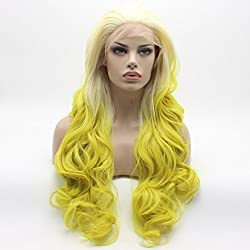 Lushy Wavy Long Light Blonde Root Golden Ombre Wig Heavy Density Half Hand Tied Heat Resistant Synthetic Lace Front Wig