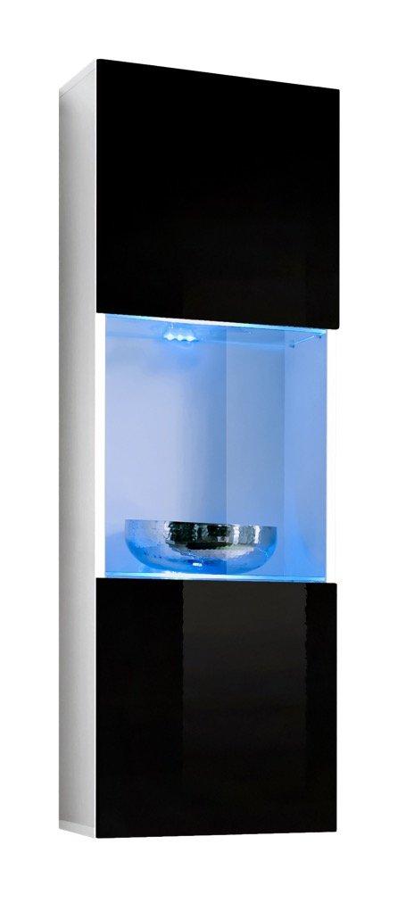muebles bonitos Vetrinetta sospesa Modello Oleggio Bianco Nero con LED - Larghezza: 40cm x Altezza: 126cm x profondità: 29 cm Lettiemobili