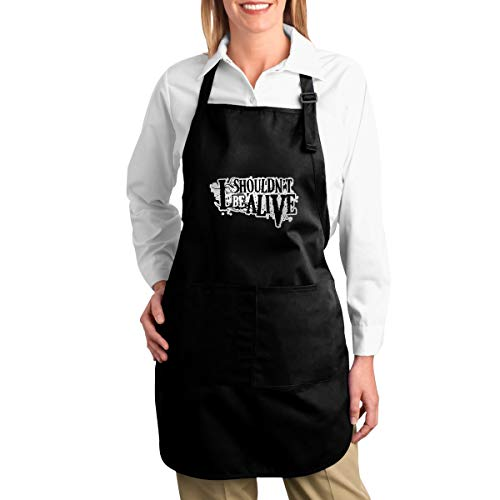 Zhangxinwei I Shouldn't Be Alive Funny Aprons for Men and Women with 2 Pockets - Kitchen Chef Cooking Grilling BBQ Baking Apron