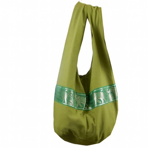 BTP! Elephant Sling Crossbody Shoulder Bag Purse Hippie Hobo Thai Cotton Gypsy Bohemian Large (Green LP1)