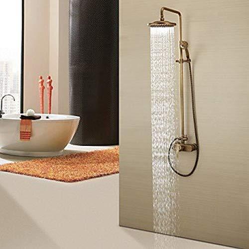 UYKIKUI Antique Shower System Rain Shower Handshower Included Ceramic Valve Three Holes Single Handle Three Holes Antique Brass, Shower Faucet