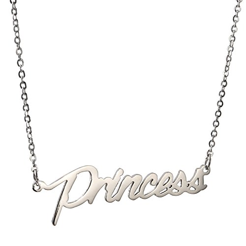 - HUAN XUN Name Necklace Stainless Steel Nameplate Silver Jewelry, Princess