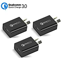 Australia 18W Quick Charge 3.0,Wong Qualcomm Certified Quick Charge 3.0 USB Wall Charger Portable Adapter(Quick Charge 2.0 Compatible) for iPhone, iPad, Samsung Galaxy/Note and More (3Pcs Black)