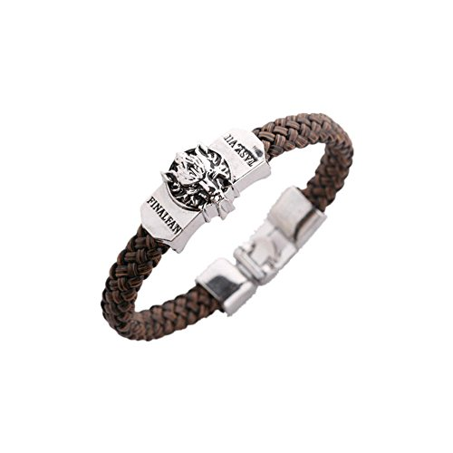 Game Final Fantasy VII Logo Leather Braided Bracelet in Gift Box
