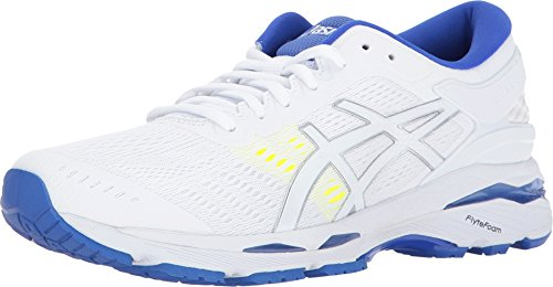 ASICS Womens Gel-Kayano 24 Running Shoe, White/Blue Purple/Safety Yellow, 8 Medium US