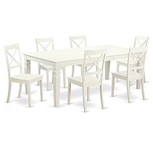 Linen Extension Dining Table - East West Furniture LGBO7-LWH-W 7 PC Kitchen Set with a Table and 6 Dining Chairs in Linen White, 7 Pieces,
