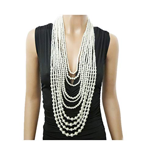 Fashion 21 Women's Ten Multi-Strand Simulated Pearl Statement Necklace and Earrings Set in Cream ()