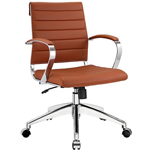 Modway Jive Ribbed Mid Back Executive Office Chair, Terracotta Vinyl