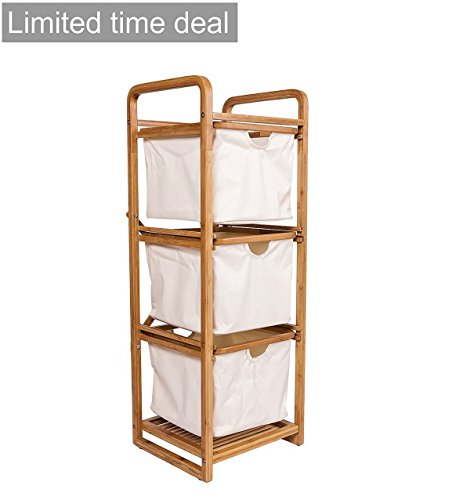 Ancona life Bamboo Basket Three Drawer Hamper/Storage Unit