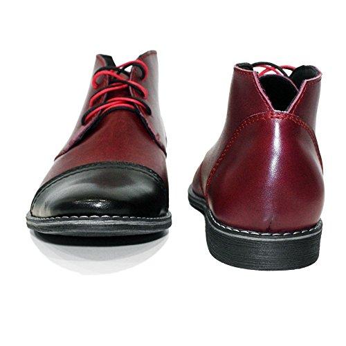 Modello Cherry - Handmade Italiano da Uomo in Pelle Borgogna Chukka Boots - Vacchetta Pelle Morbido - Allacciare