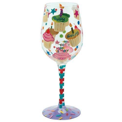 Santa Barbara Design Studio C-GLS11-5517C Lolita Love My Wine Hand Painted Glass, Birthday Cupcakes by Santa Barbara Design Studio