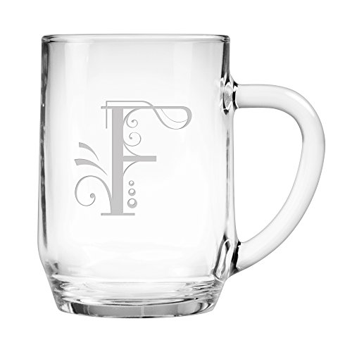Susquehanna Glass Monogrammed Oversized Coffee/Beverage Mugs with Sand Etched Whimsical Font Letter, Set of 2, F, 20 oz