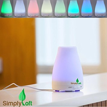 Ab Bathroom Lights (Essential Oil Diffuser, Simply Loft 120ml Ultrasonic Cool Mist Humidifier Aromatherapy with Multi Color LED Lights Changing Automatically for Home Office Bedroom Room,best Gifts for her women)