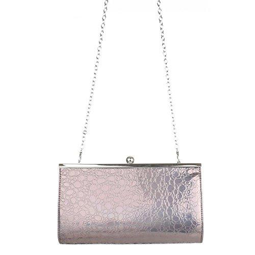 Femme Grau Bei Ital Silber design Soirée Abendtasche De Sac SEqYOx0