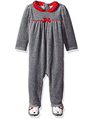 Baby Girls' Footed Velour Dog Romper