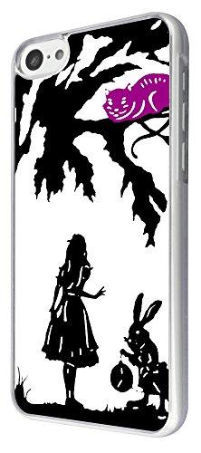 633 - Alice in Wonderland cheshire cat and rabbit Design iphone 5C Coque Fashion Trend Case Coque Protection Cover plastique et métal