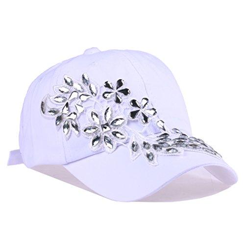 (Bling Baseball Cap Women Lace Flower Rhinestone Snapback Golf Sun Hats Adjustable (93 White))