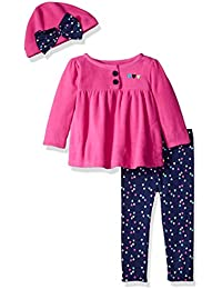 Baby Girls' 3 Piece Micro Fleece Top, Pant Cap Set