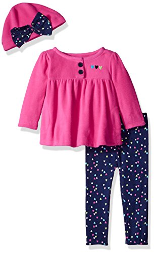 Micro Fleece Top, Pant and Cap Set, hearts, 3-6 Months (Cotton Micro Rib)