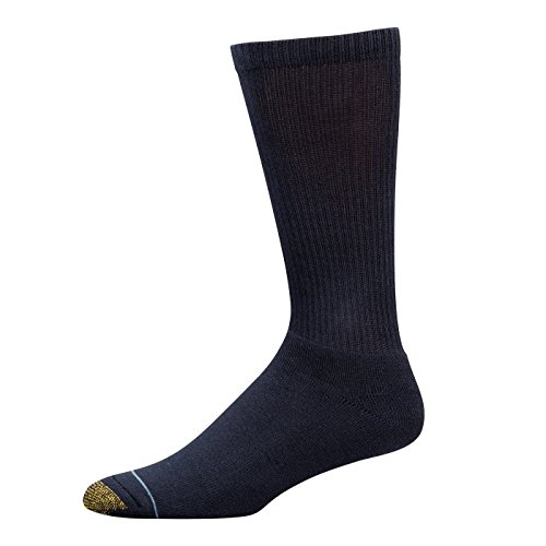 Gold Toe Men's Uptown Crew Three-Pack Socks (2 PK(6 PAIRS) 10-13, Navy) Shoe: 6-12.5 (Navy Blue And Gold)