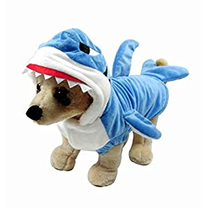 Mogoko Funny Dog Cat Shark Costumes, Pet Halloween Christmas Cosplay Dress, Adorable Blue Shark Pet Costume,Animal Fleece Hoodie Warm Outfits Clothes