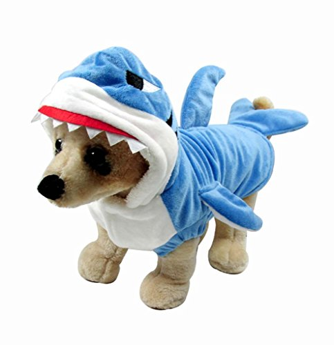 Mogoko Funny Dog Cat Shark Costumes, Pet Halloween Christmas Cosplay Dress, Adorable Blue Shark Pet Costume,Animal Fleece Hoodie Warm Outfits Clothes (L Size) -